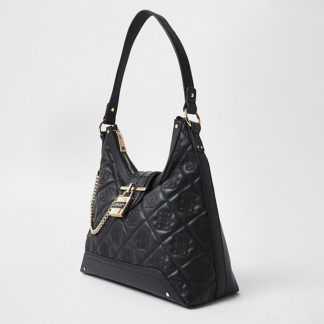 Black quilted padlock slouch handbag
