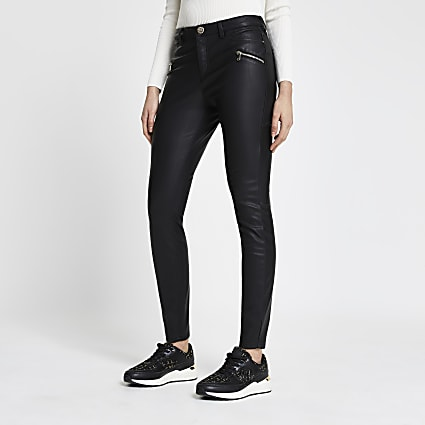 Black quilted pu skinny fit trousers