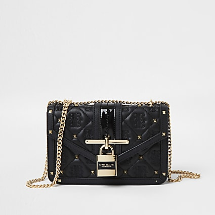 Black quilted RI embossed padlock satchel bag