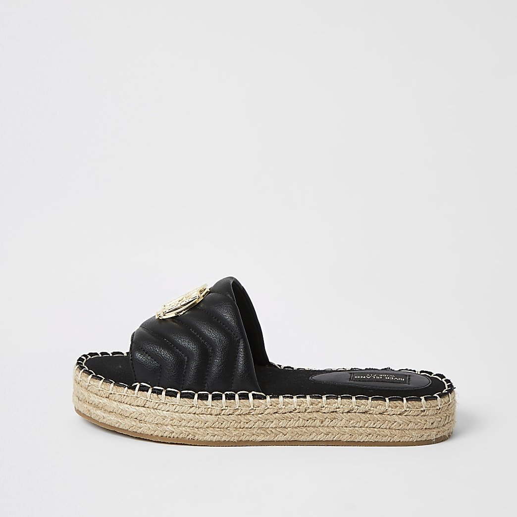Sandales espadrilles RI matelassées noires, coupe large