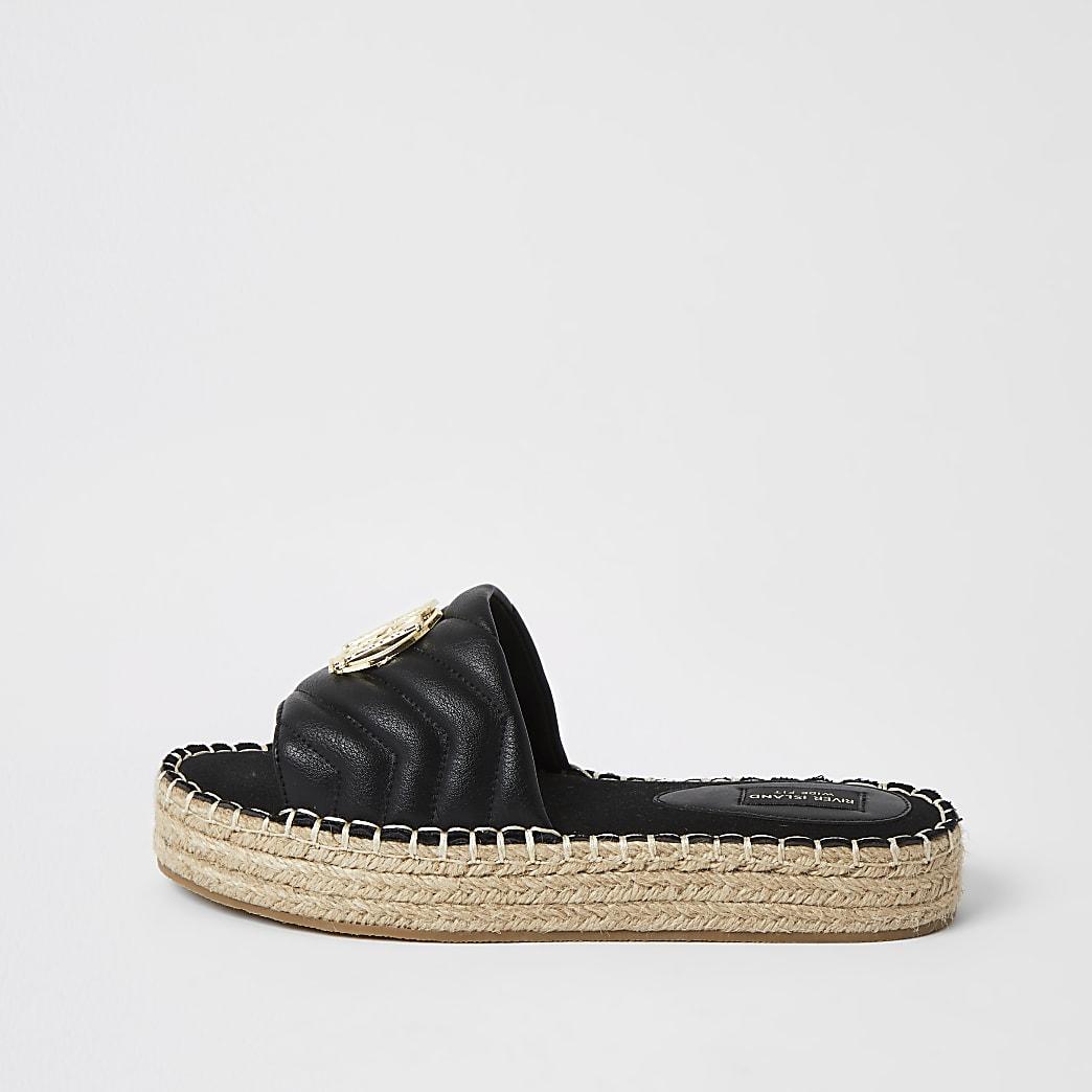Zwarte doorgestikte wide fit espadrille-sandalen met RI-embleem