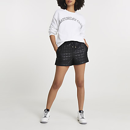 Black quilted runner shorts