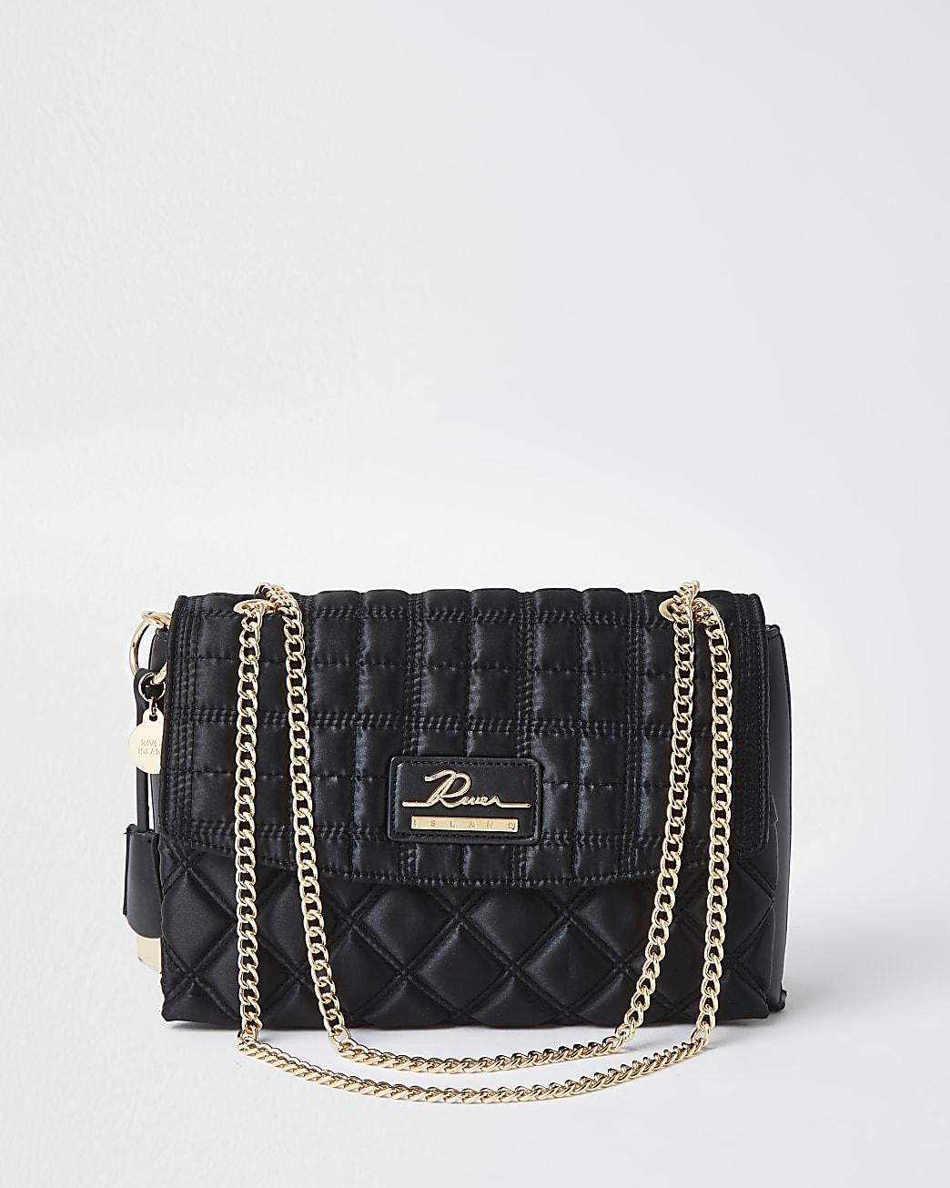 Black quilted satchel