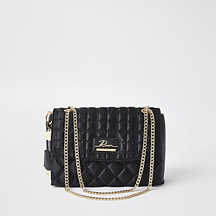 Black quilted satchel