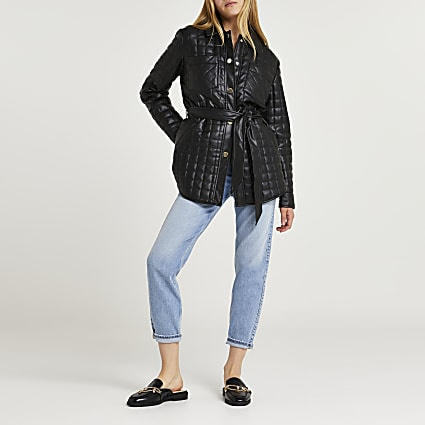 Black quilted shacket