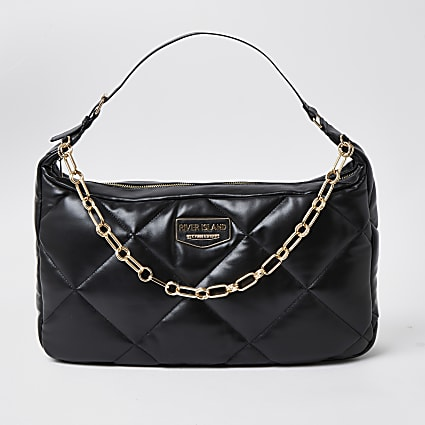 Black quilted shoulder handbag