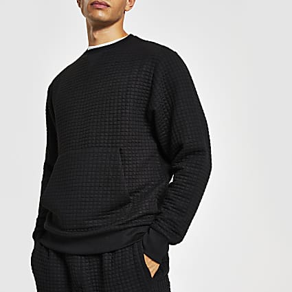 Black quilted slim fit sweatshirt