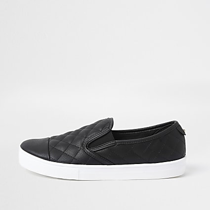 Black quilted slip on trainers