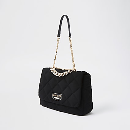 Black quilted soft shoulder bag