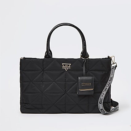 Black quilted soft tote bag