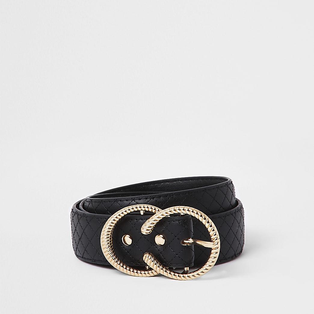 Black quilted twisted horseshoe belt
