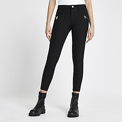 Black quilted zip detail skinny trousers