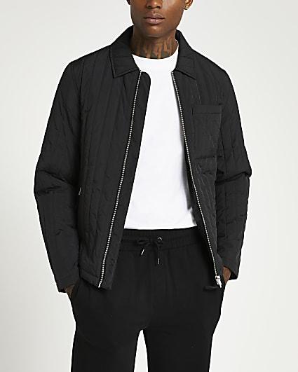 Black quilted zip front harrington jacket