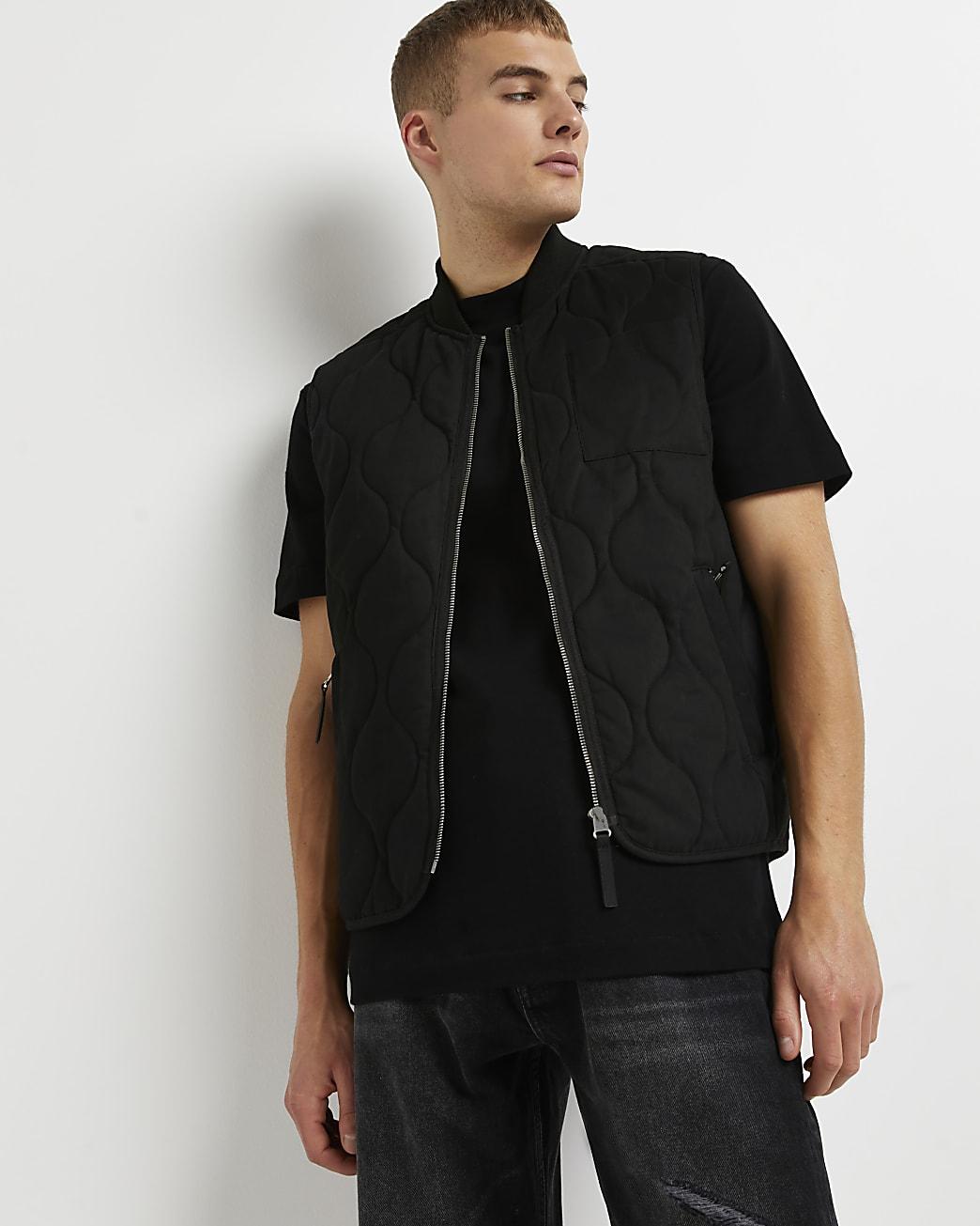 Black quilted zip pocket gilet