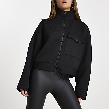 Black quilted zip through shacket