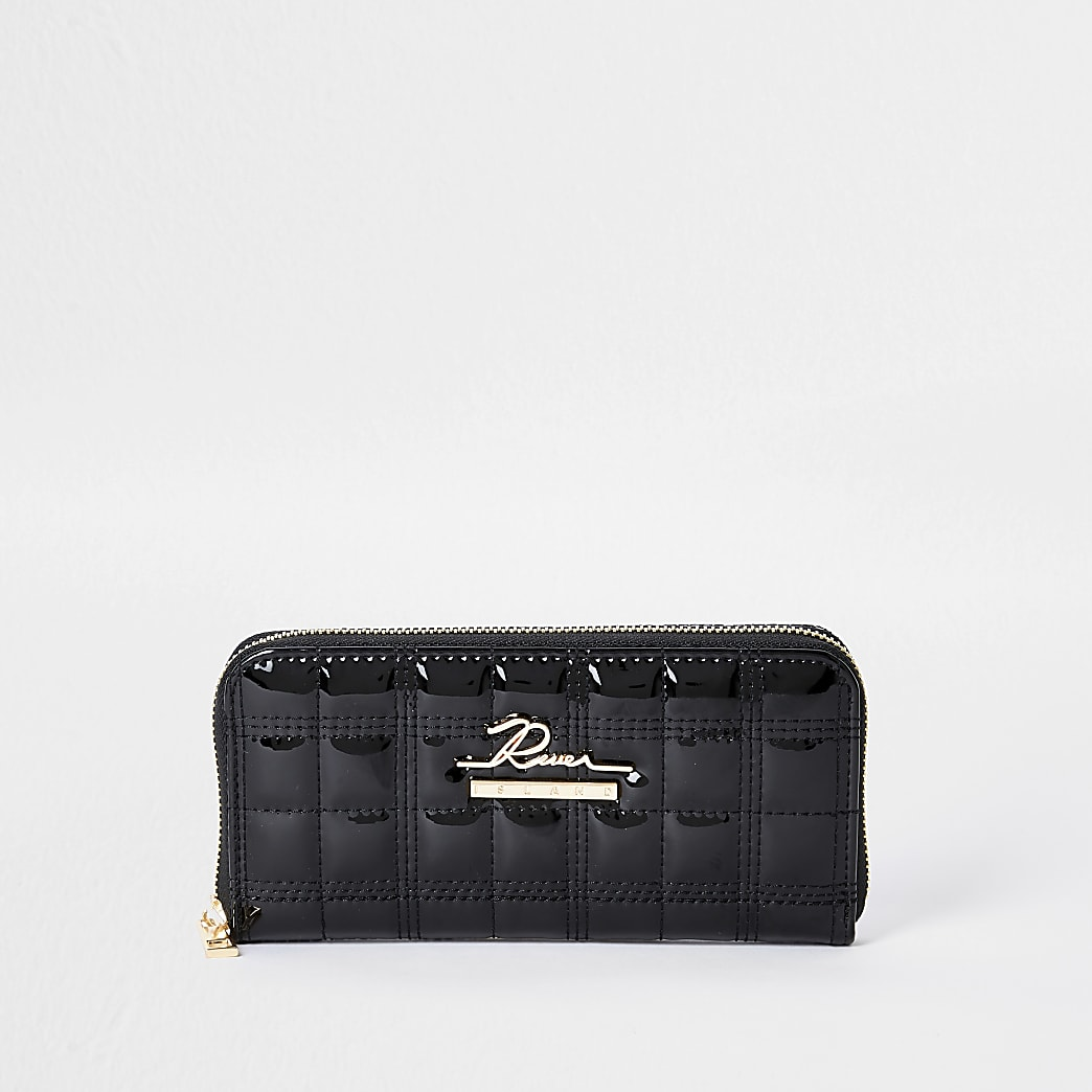 Black quilted ziparound purse