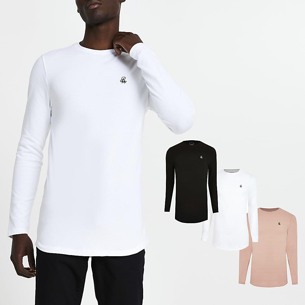 Black R96 long sleeve t-shirt pack of 3