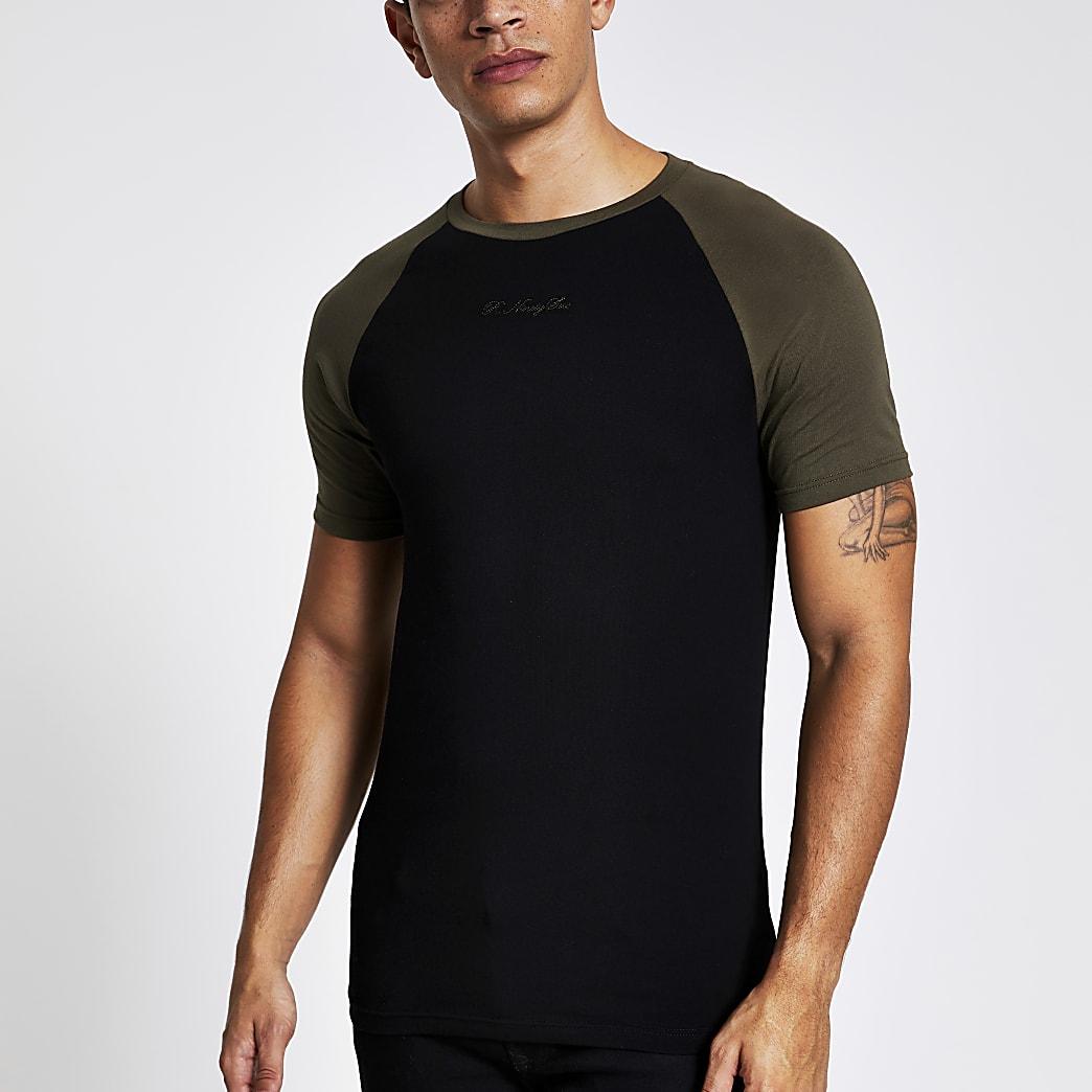 Black R96 raglan muscle fit T-shirt