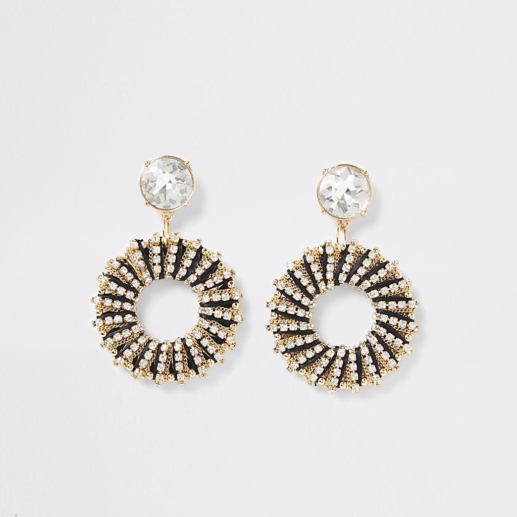 Black raffia wrapped circle drop earrings