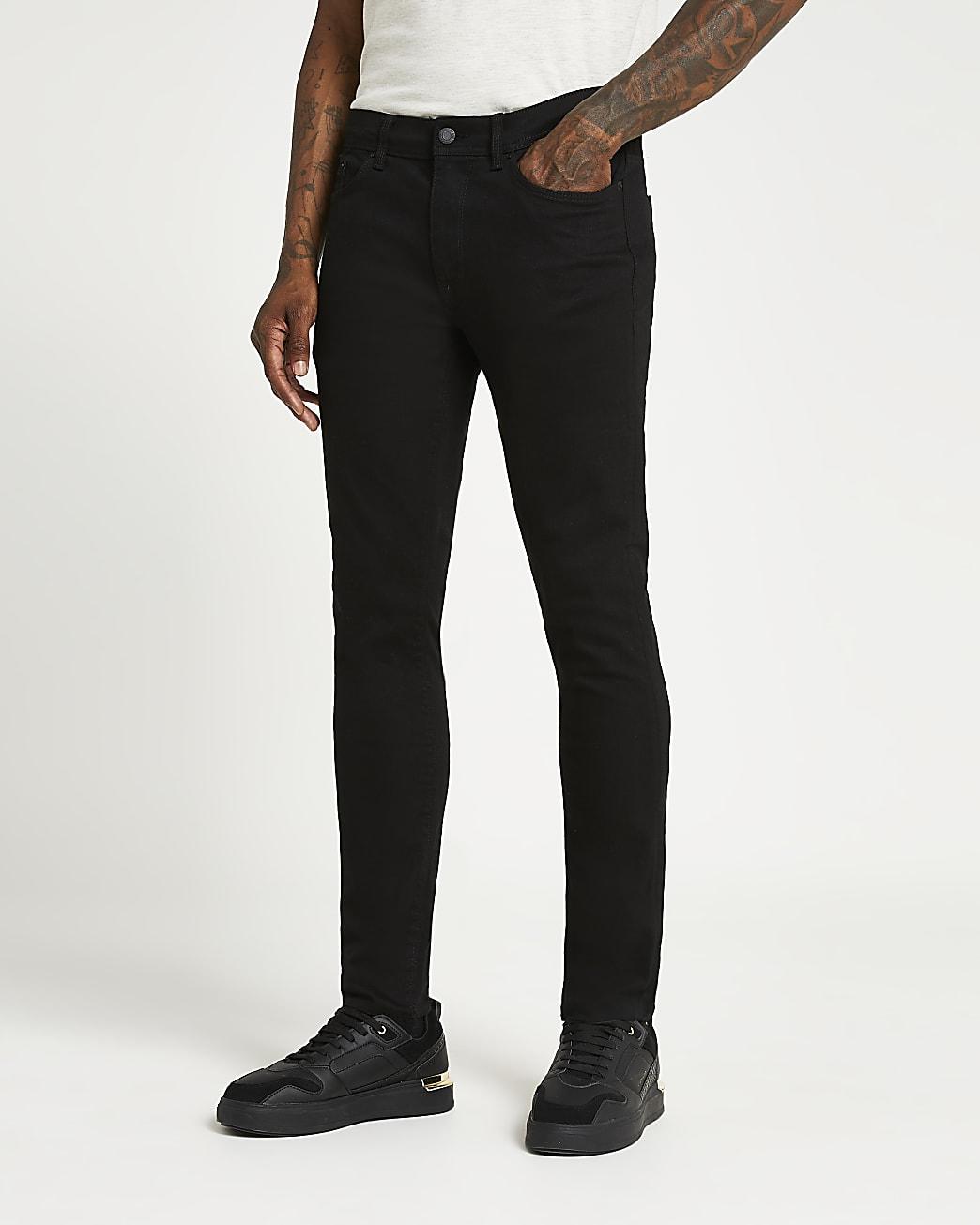 Black raw hem skinny fit jeans