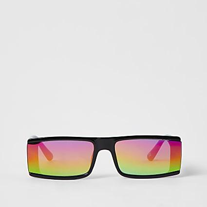 Black Rectangle Rainbow Lens Revo