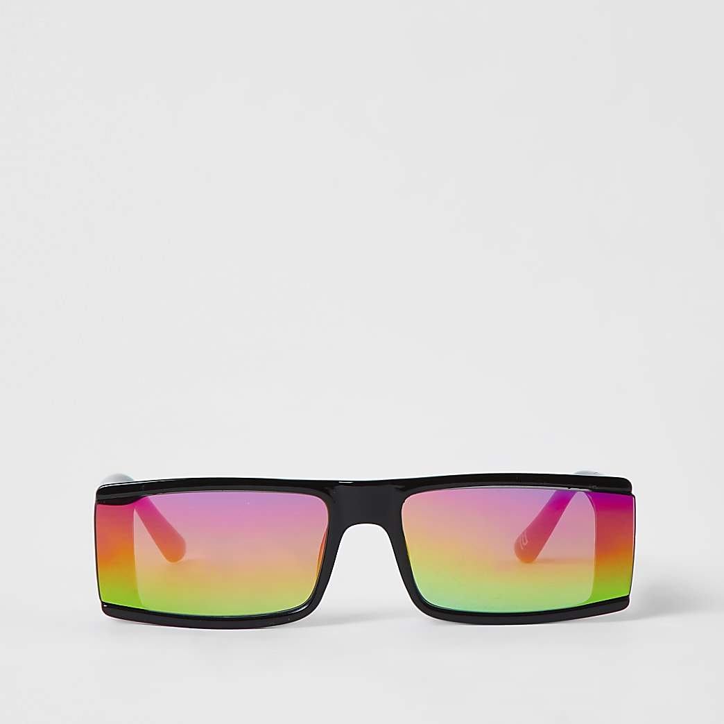 Black Rectangle Rainbow Lens Revo