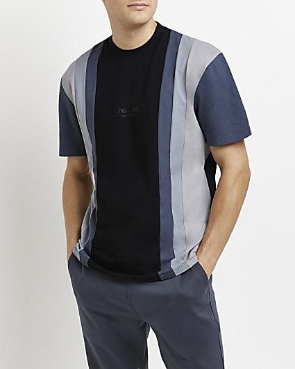 Black regular fit colour block stripe t-shirt