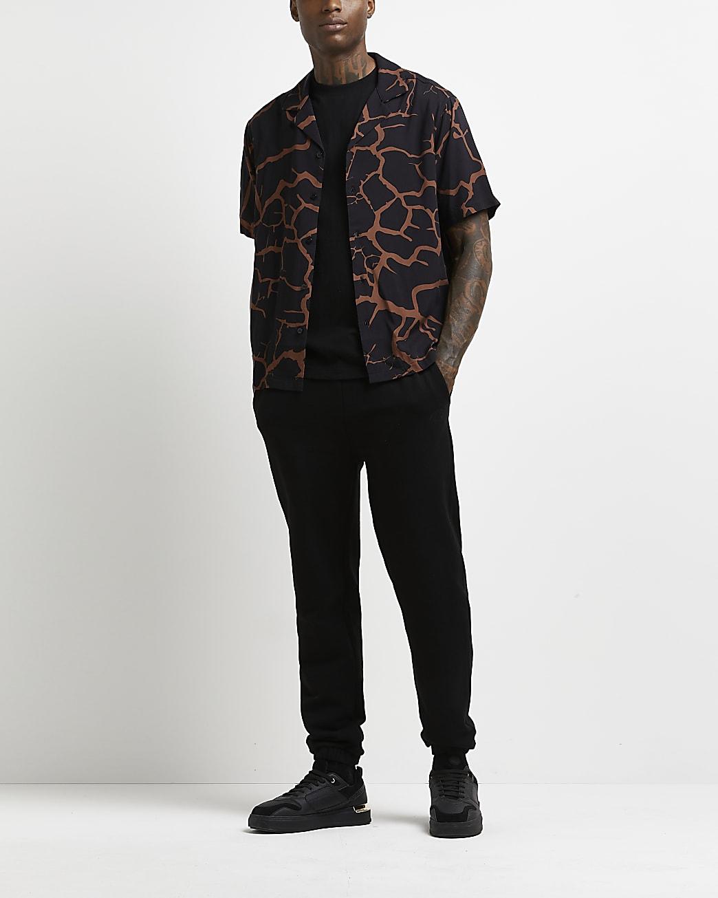 Black regular fit cracked print shirt
