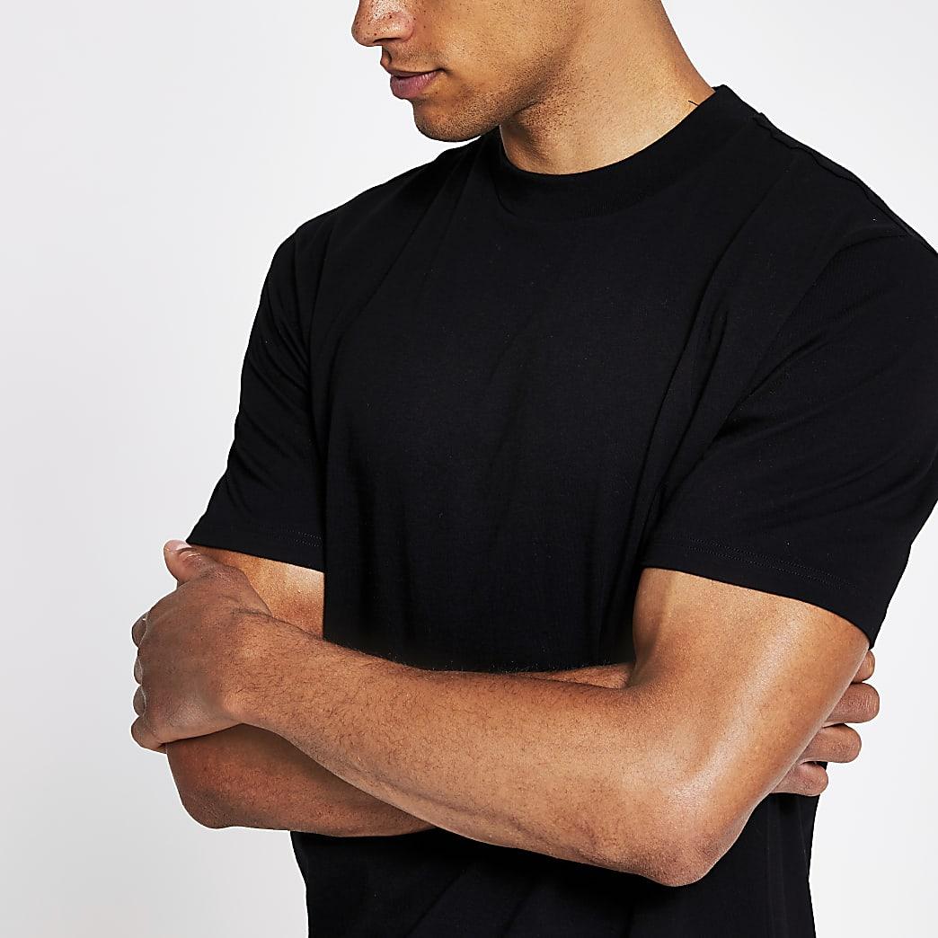Black regular fit crew neck T-shirt