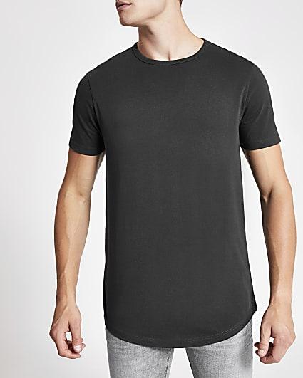 Black regular fit curved hem longline t-shirt