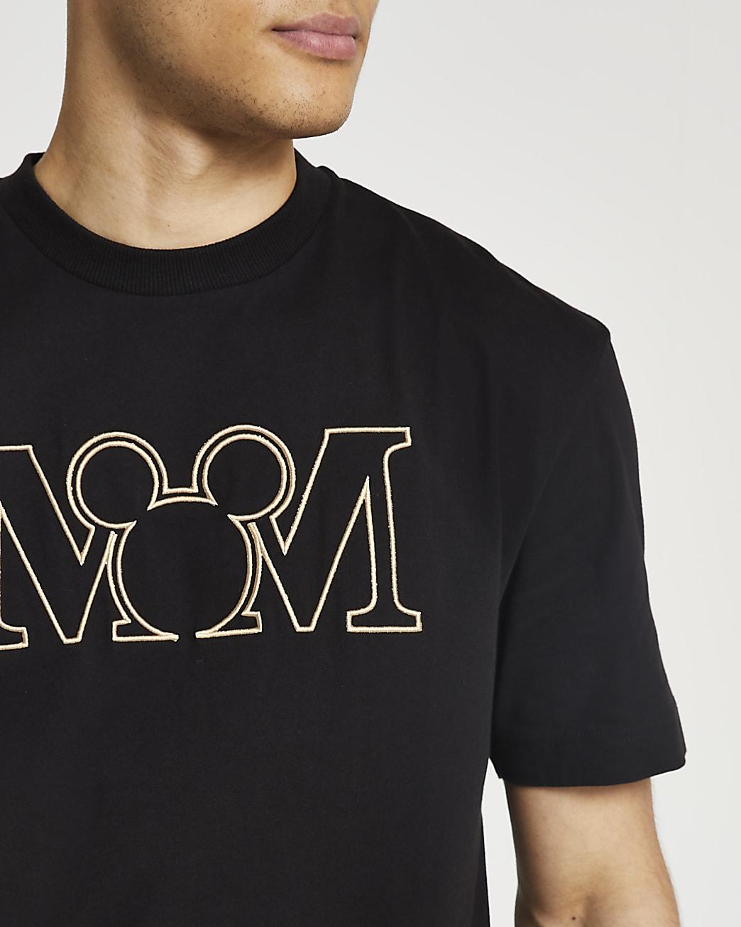 Black regular fit Disney Mickey Mouse t-shirt