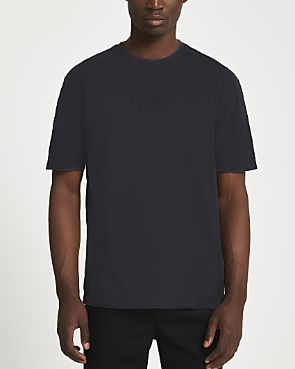 Black regular fit graphic embroidered t-shirt