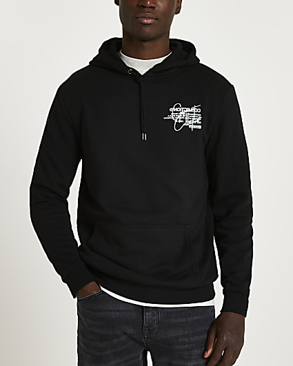 Black regular fit graphic hoodie