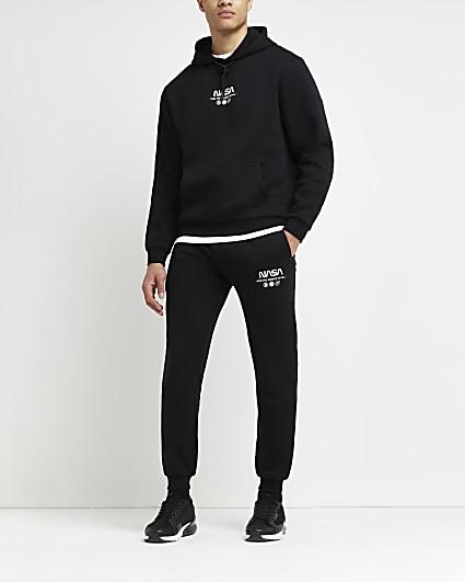 Black regular fit graphic joggers