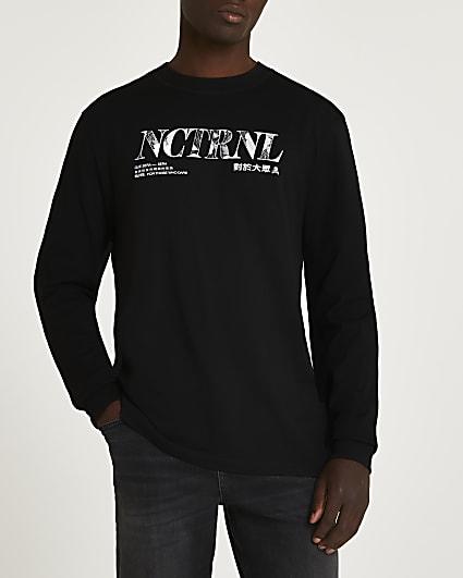Black regular fit graphic long sleeve t-shirt