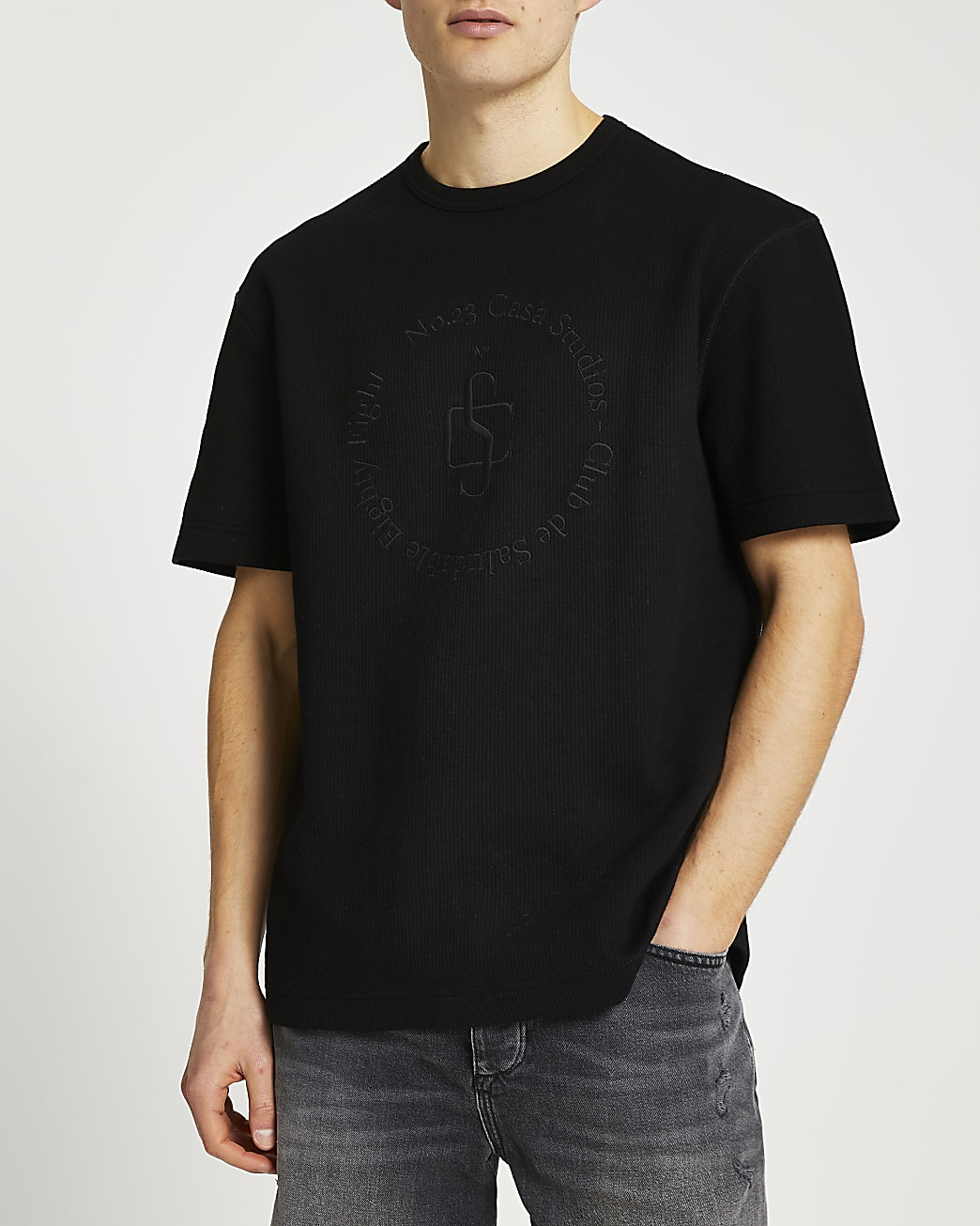 Black regular fit graphic ribbed t-shirt