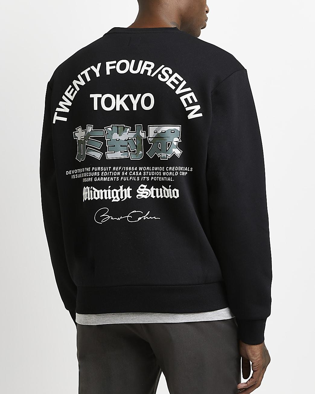 Black regular fit graphic sweatshirt