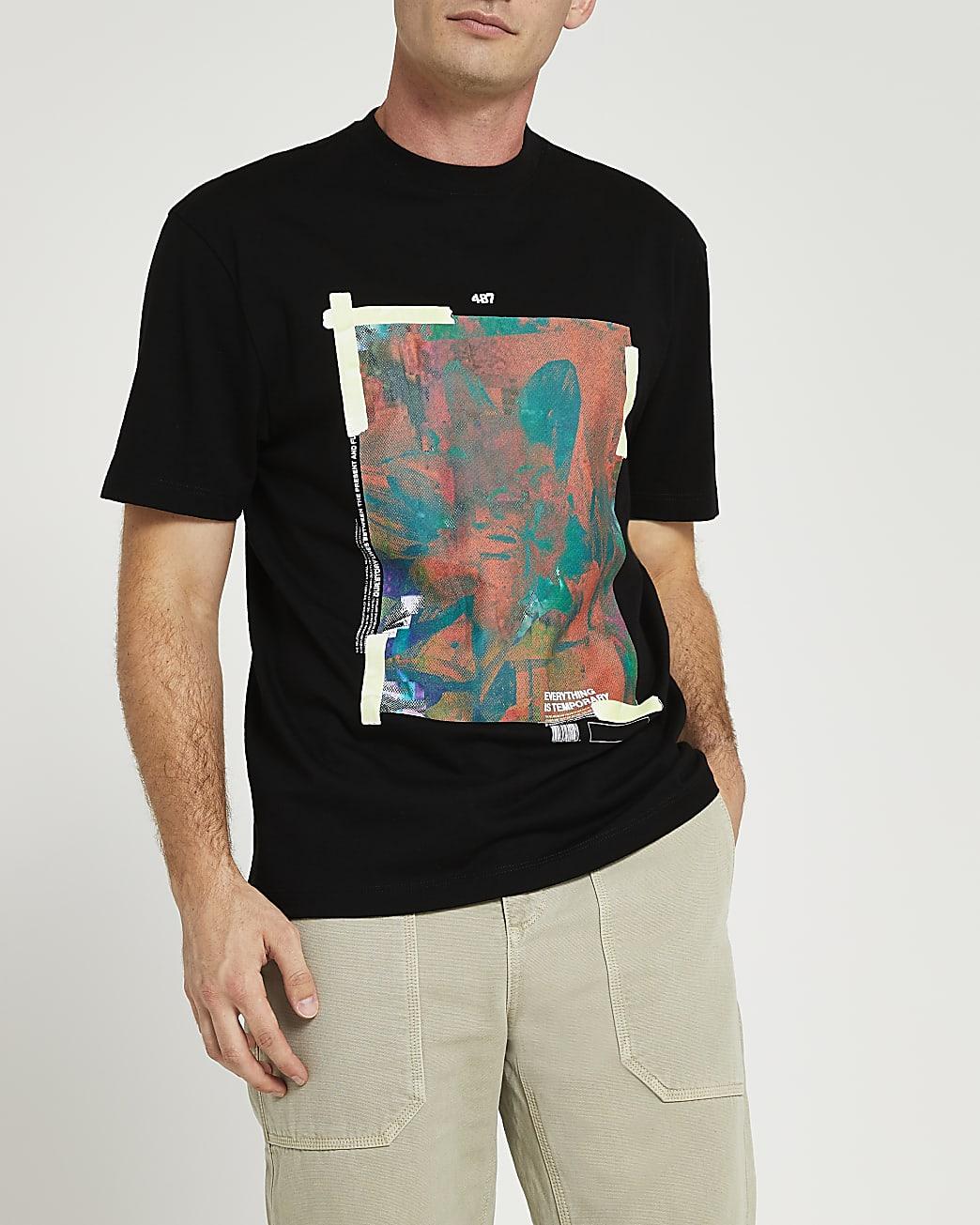 Black regular fit graphic t-shirt