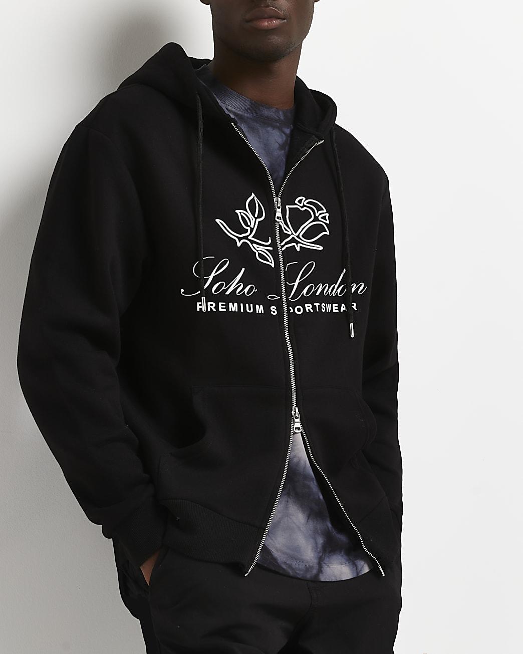 Black regular fit graphic zip through hoodie
