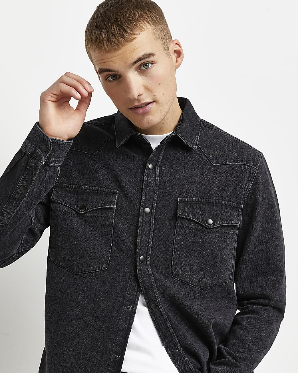 Black regular fit long sleeve denim shirt