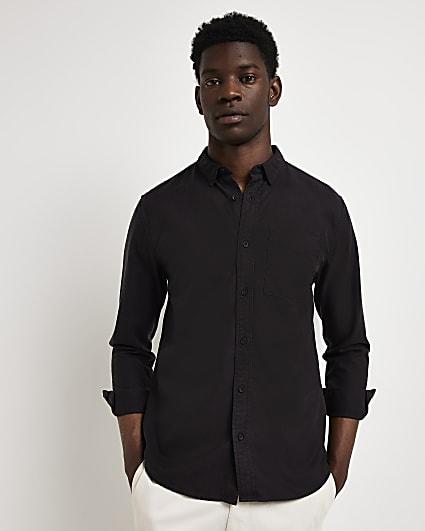 Black regular fit lyocell twill shirt