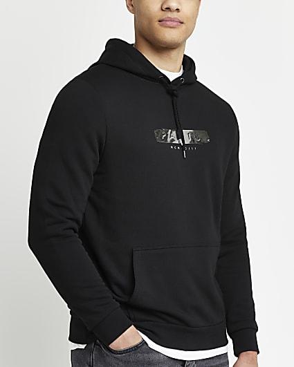 Black regular fit metallic graphic hoodie