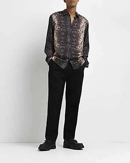 Black regular fit ombre snake print shirt