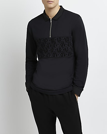Black regular fit RI monogram polo shirt