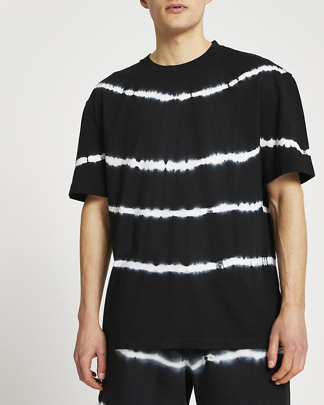 Black regular fit tie dye t-shirt