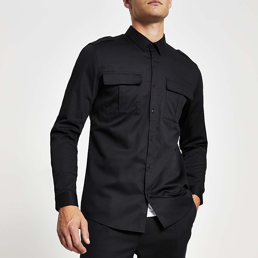 Black regular fit utility shirt