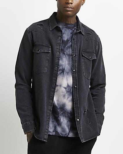 Black regular fit western ripped denim shirt