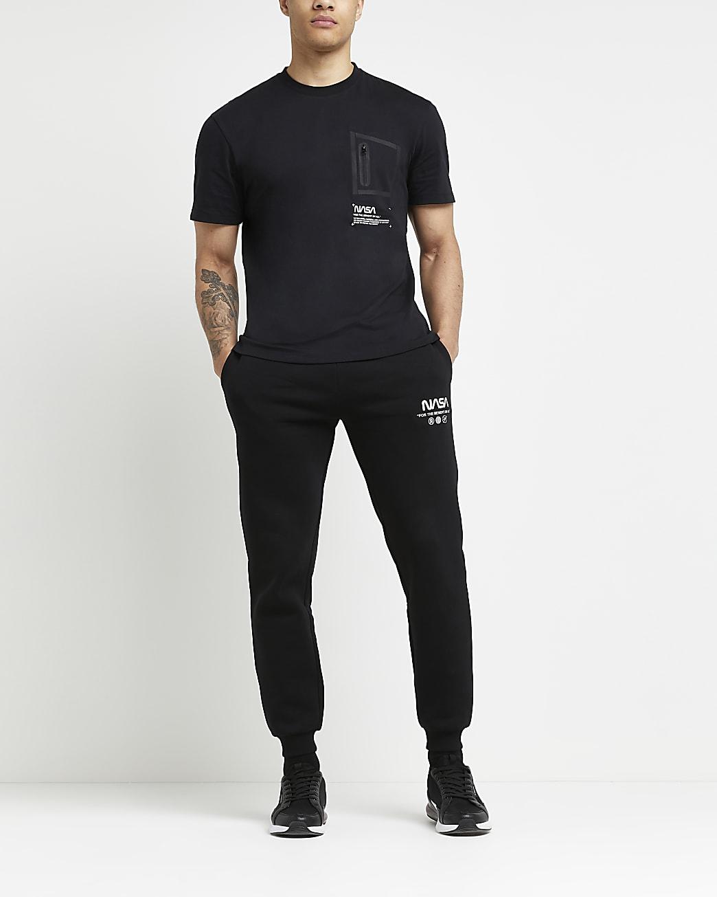 Black regular fit zip NASA graphic t-shirt