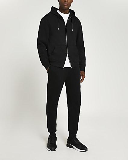 Black regular fit zip through hoodie