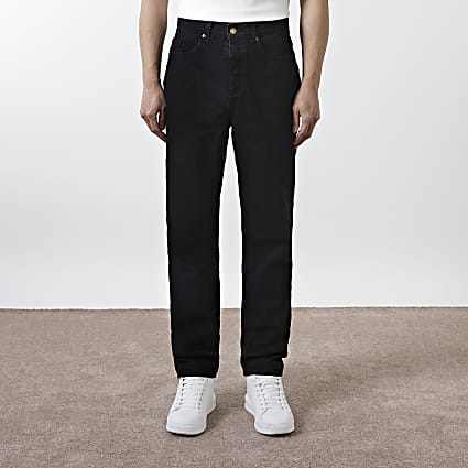 Black relaxed fit carpenter jeans